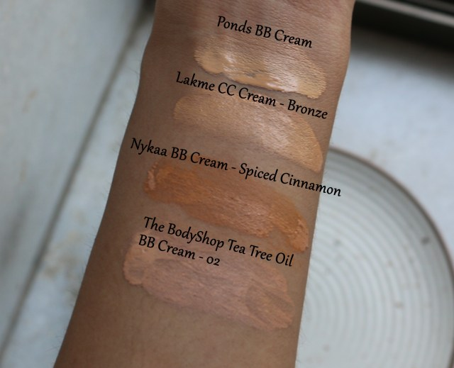 BB Creams/CC Creams Comparison Swatches Review | Ponds vs Lakme vs The Body Shop vs Nykaa