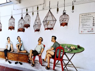 Art mural at Tiong Bahru - Bird Singing Corner by Singaporean artist Yip Yew Chon