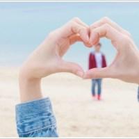 カップル、海、ハート、恋愛