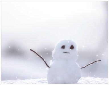 冬、雪、雪だるま