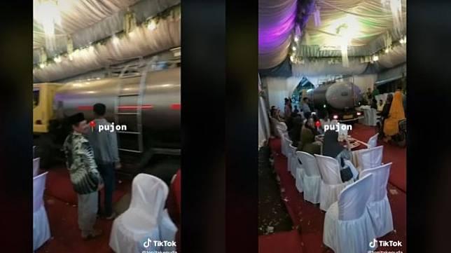 Viral Truk Lewat di Tengah Resepsi Pernikahan (tiktok.com/@tonitakenuda)