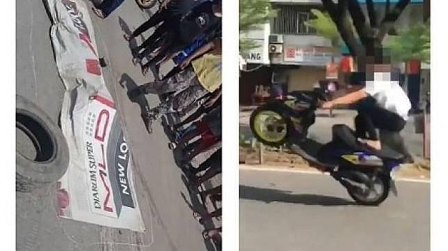 Seorang bocah freestyle motor dengan cara mengangkat motor hingga jalan 1 roda. (@infocegatansolo)