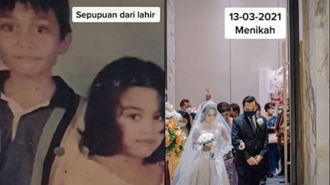 Nikah dengan saudara sepupu. (tiktok/qhirajilenza)