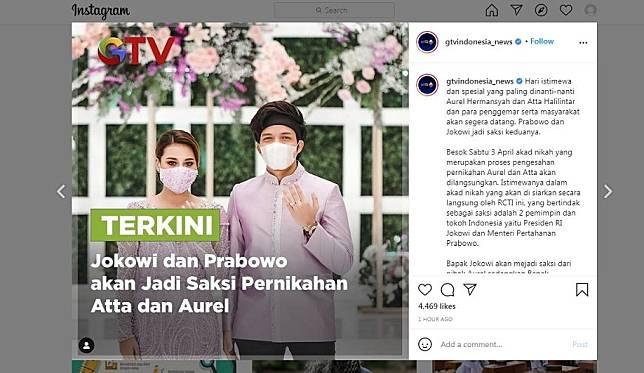 Jokowi dan Prabowo disebut jadi saksi nikah Atta Halilintar dan Aurel Hermansyah.