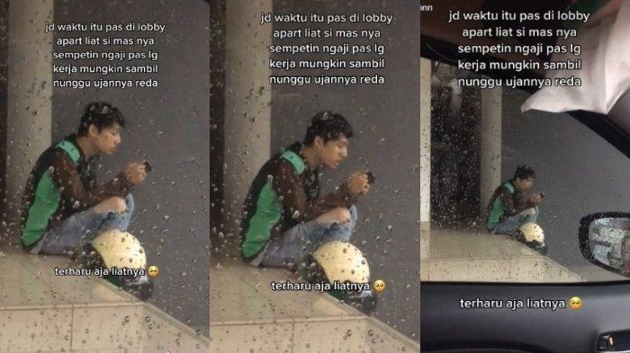 CARI Nafkah Terkendala Hujan, Driver Ojol Berteduh Membaca Al Quran, Tangis Malu Tertampar di Medsos