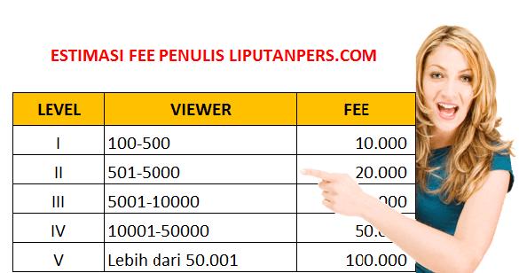 Berikut estimasi fee yang bisa Anda terima ketika sudah menjadi penulis di Liputanpers.com