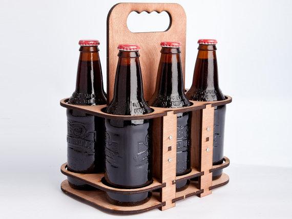 The 6 Packer a lasercut 6 pack glass bottle holder