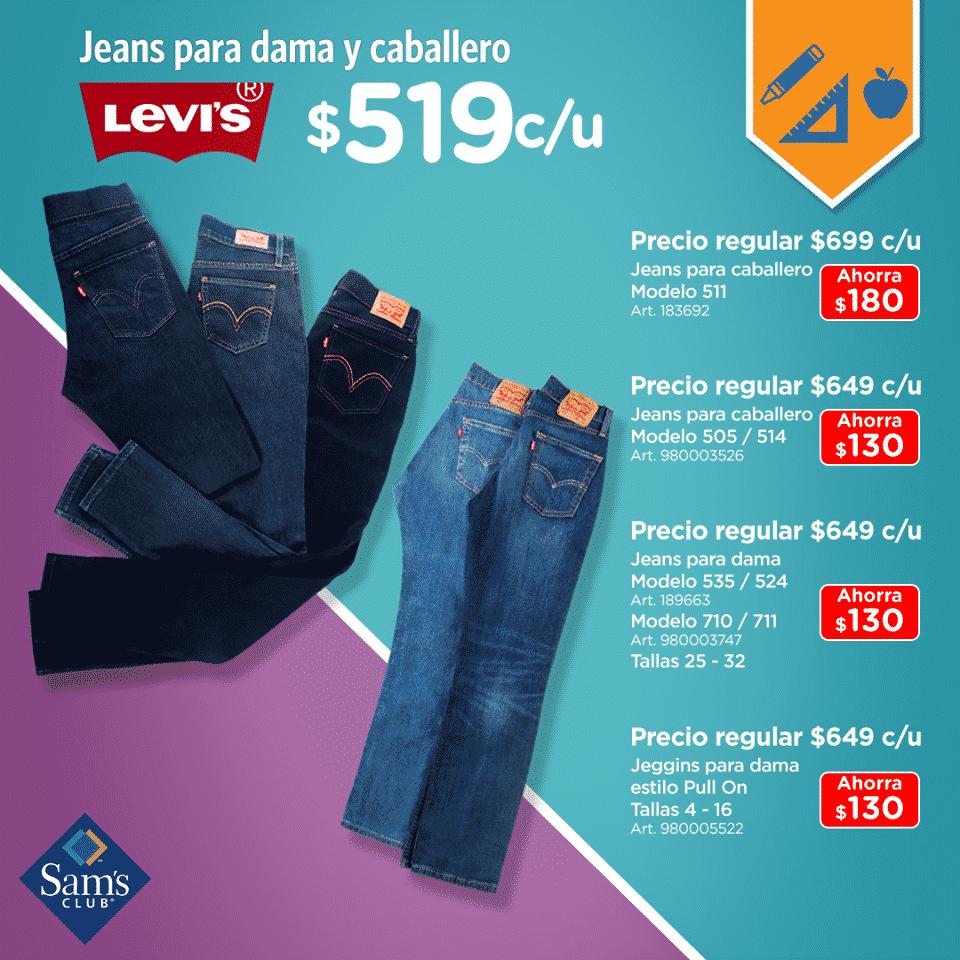 mejores zapatillas de deporte a14c1 a2d7e Sam's Club - Precios especiales en jeans Levi's para dama y ...