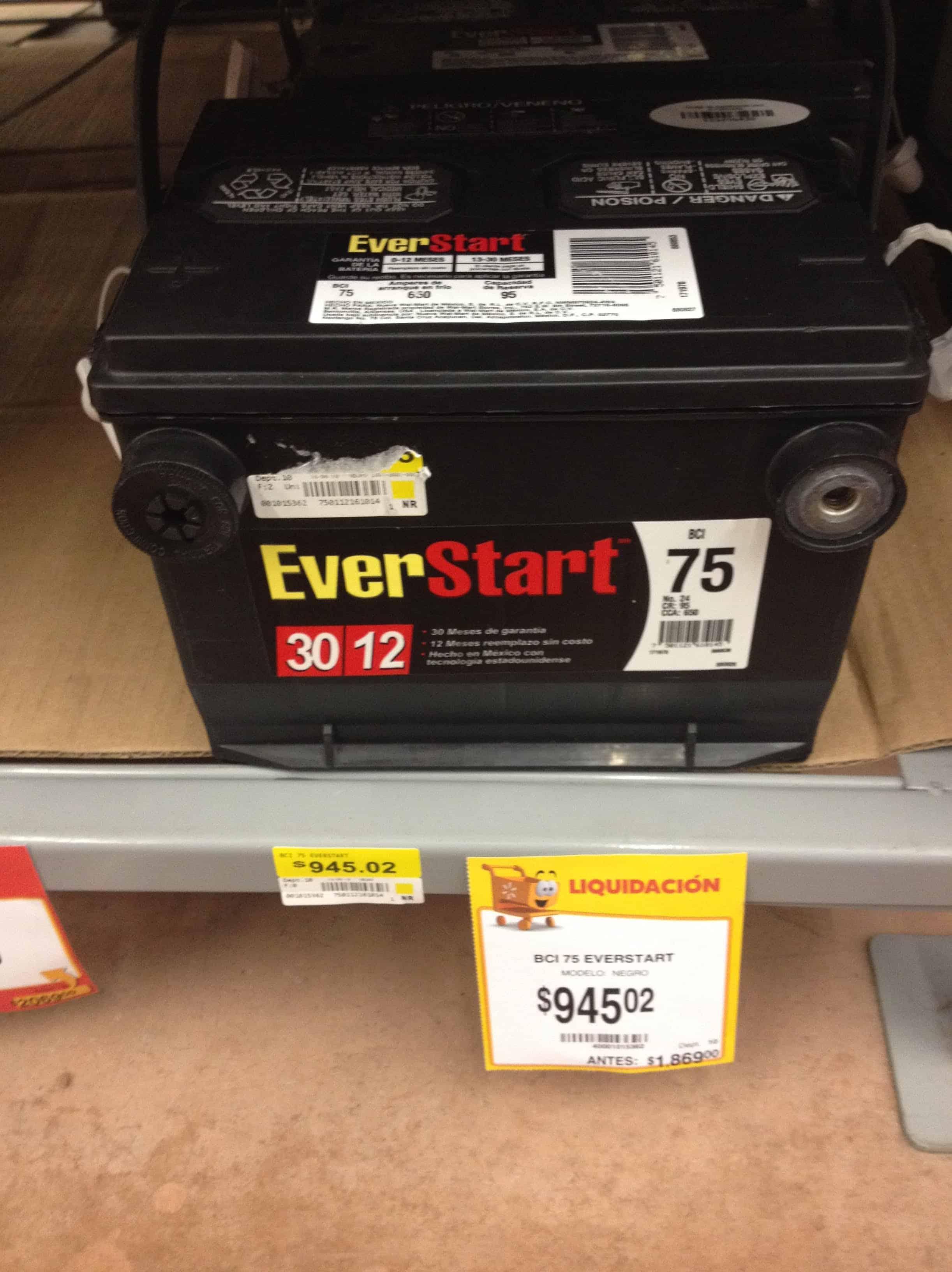 Precios de baterias para autos en walmart