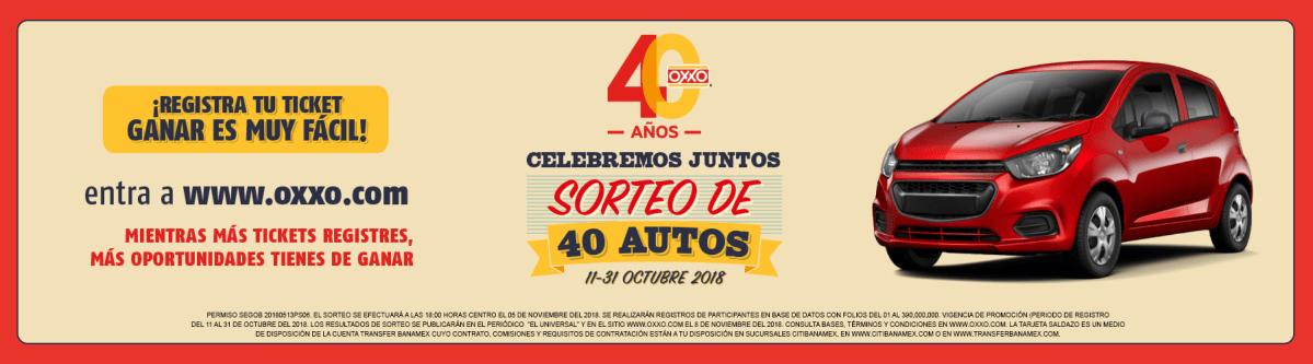 """Oxxo - Sorteo de 40 Aniversario """"A la vuelta de tu Vida""""/ Registra tus tickets y participa para ganar un Automovil..."""