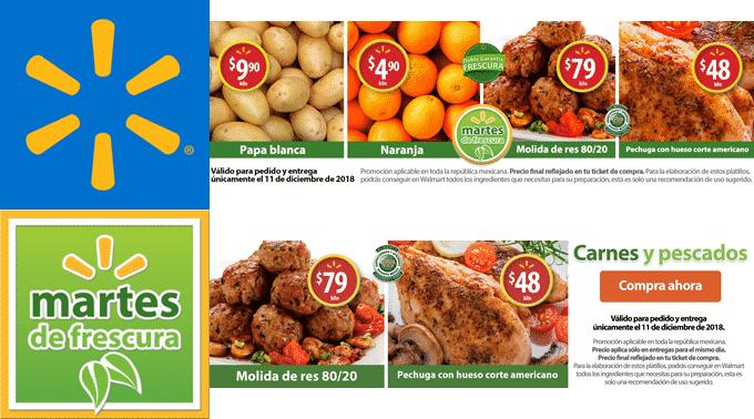 Walmart - Martes de Frescura 11 de diciembre de 2018 / Naranja a $4.90kg, Papa Blanca a $9.90kg y más...