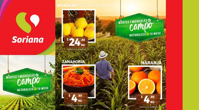 Soriana Híper y Súper - Martes y Miércoles del Campo 15 y 16 de enero de 2019 / Naranja Valencia y Zanahoria a $4.80kg y más…