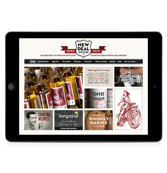 New Deal Distillery Custom WordPress Marketing Home Page