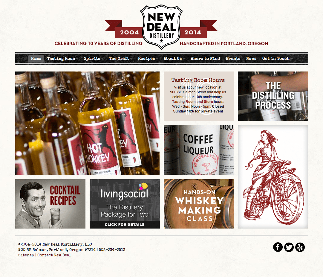 New Deal Distillery Custom Marketing Home Page