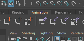 """シェルフのタブから""""Animation""""が選択"""