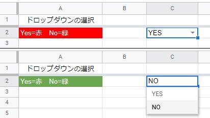 ドロップダウンリストで「YES」が選ばれると「A2」のセルが赤に、「NO」が選ばれると緑に変わりました