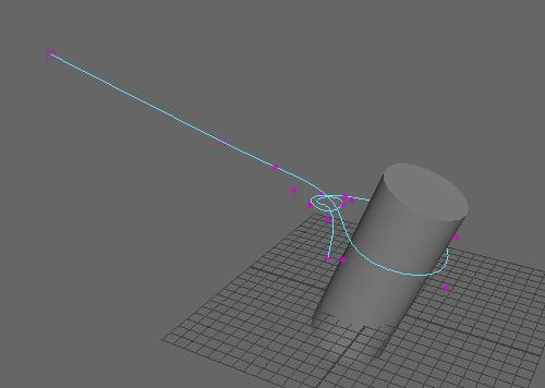 円柱にロープを結んだ状態になるようにカーブを作成