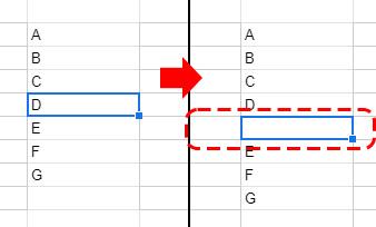 選択したセル「D」の下にセルが一行挿入されました。