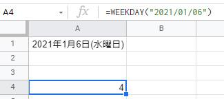 日曜日が1、月曜日が2、火曜日が3、水曜日は「4」