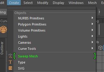 Create(作成) > Sweep Mesh(メッシュをスイープ)
