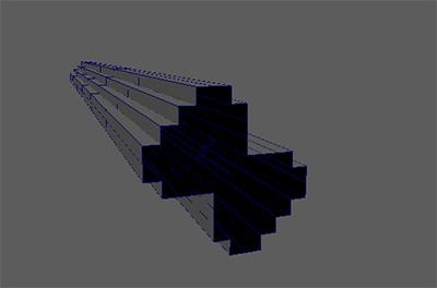 モデリングしたメッシュを断面として、SweepMeshを生成されました。