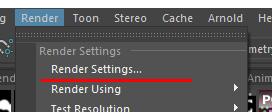 Render Settings...(レンダーの設定...) クリック
