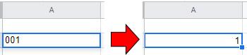セルに「01」や「002」と入力すると、先頭に付けた0は消え「1」や「2」と表示される