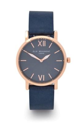 Elie Beaumont Blue Square Strap Rose Gold Watch