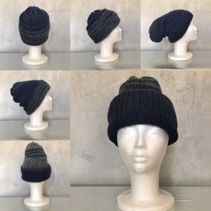 Reversible Extra Thick Cuffed Organic Wool Mix Beanie Hat