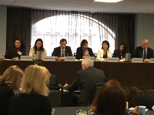 """Image showing Helani Galpaya among other panelists at the """"Asian Liveable Cities"""" Forum in San Fransisco"""