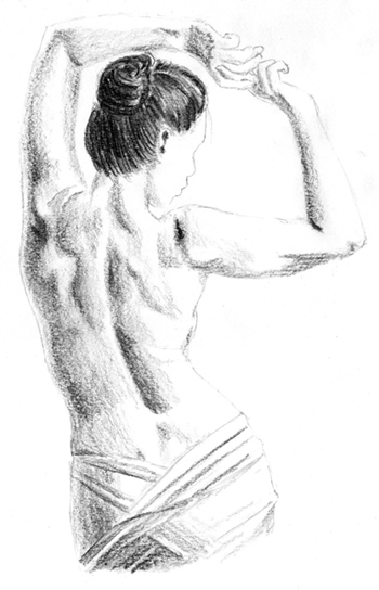 How to Draw a Female Figure's Back: Shading Exercise
