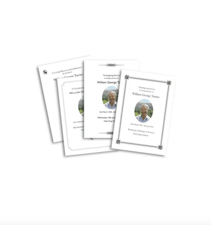 Service Sheets from Funeral Directors in Somerset