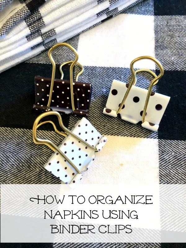 how to organize napkins using binder clips