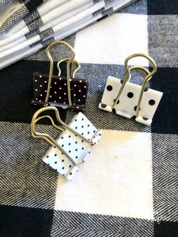 black and white polk a dot binder clips