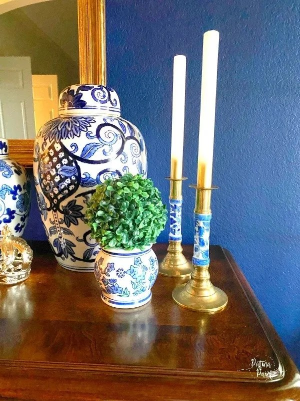 blue and white chinoiserie vases and candlesticks