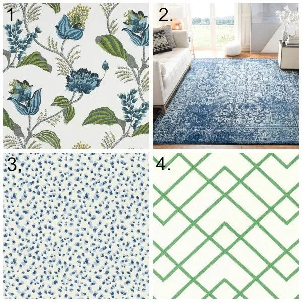 floral fabric, blue rug,  blue leopard fabric, green and white fabric