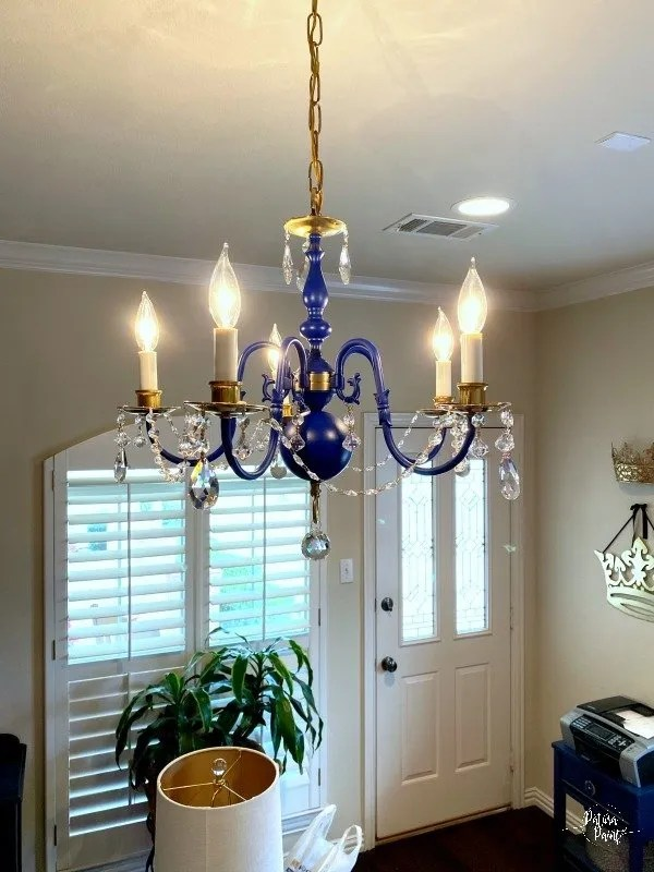 navy and gold chandelier