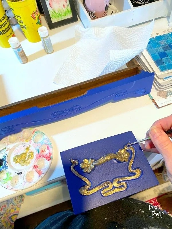 painting gold on drawer