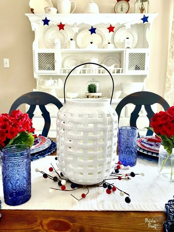 white ceramic basket weave lantern