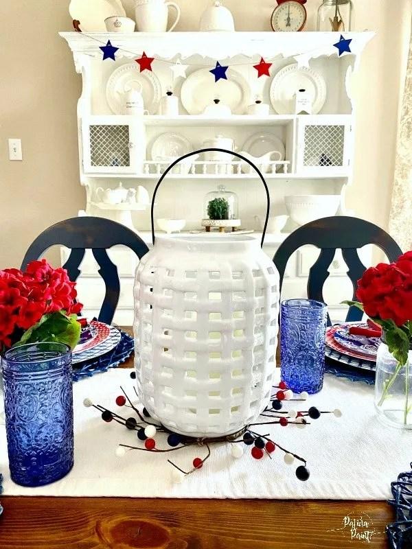 white ceramic basket weave lantern