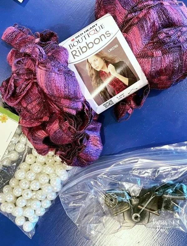 yarn, beads, drawer pulls