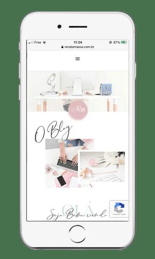 Tela de celular do site para negócios