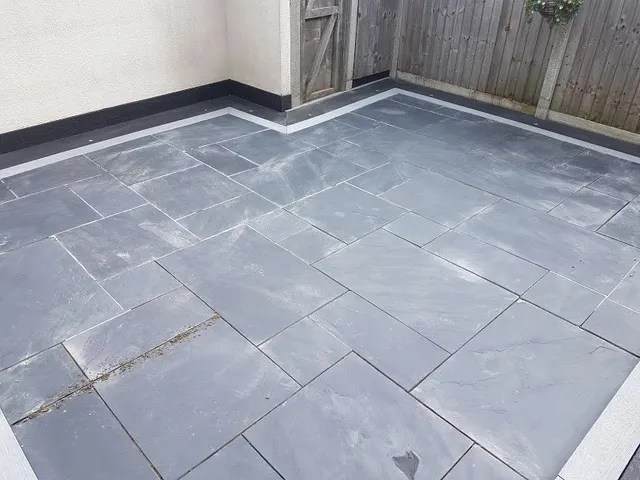 black slate patio tiles regrouting