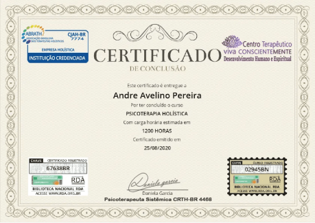 Certificado do Curso de Psicoterapias Holísticas