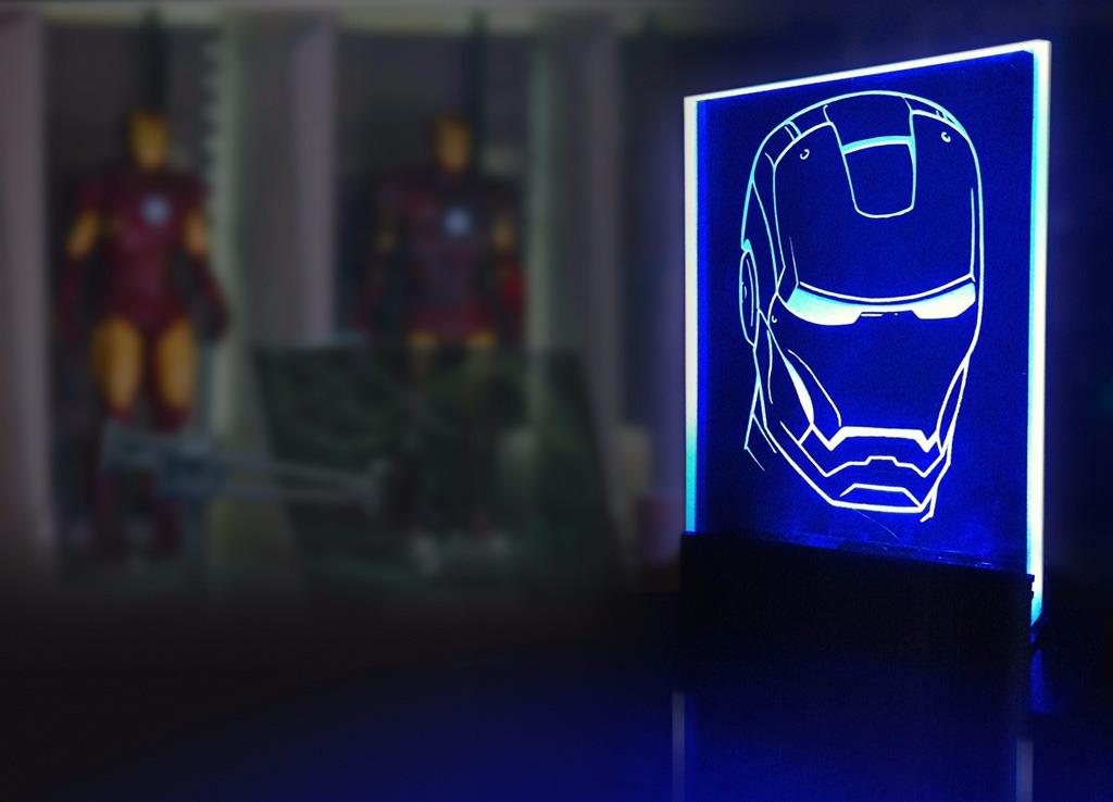 marvel heroes-decor glass lamp-iron man-iron-man