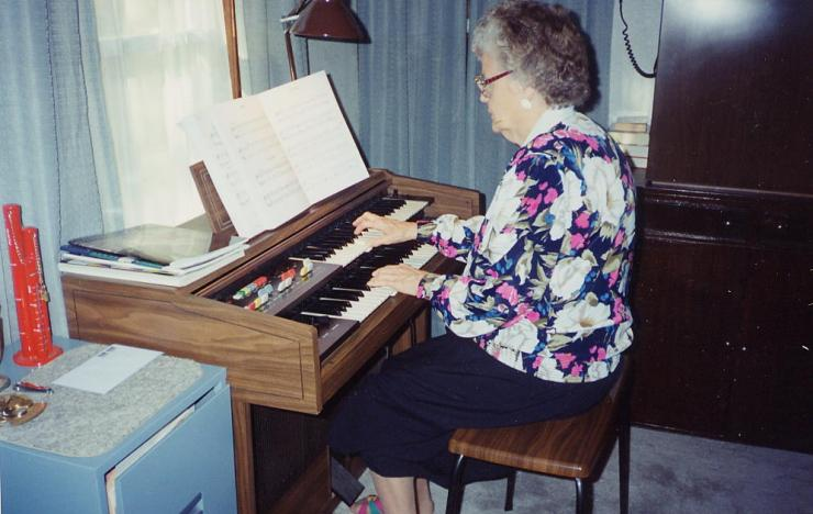 Grandma playing organ