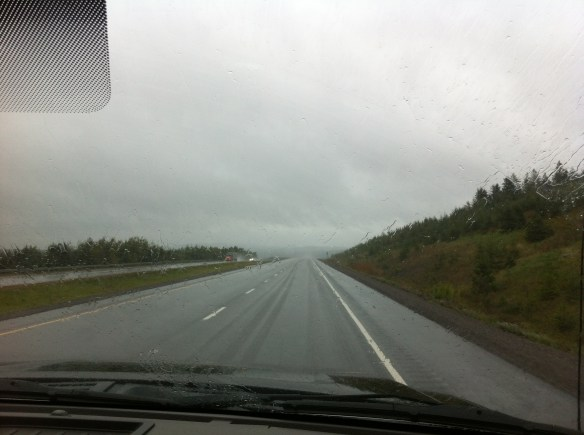 rainy drive to Truro