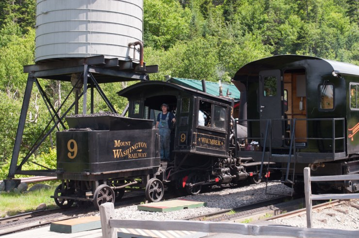 The old fashioned steam driven train goes up once a day, in the morning. It was just coming back down when we got there. It takes 1,000 gallons of water to get up the mountain!