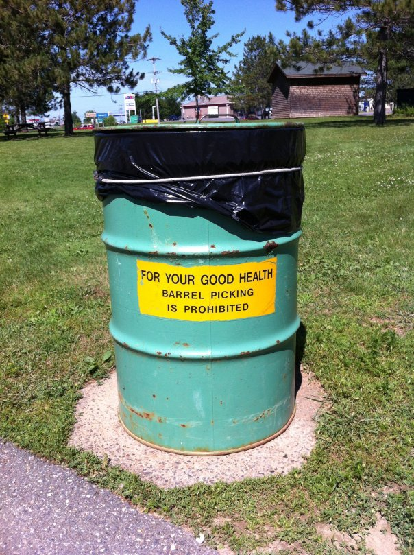 These were the trash cans at the Maine rest areas. How thoughtful!