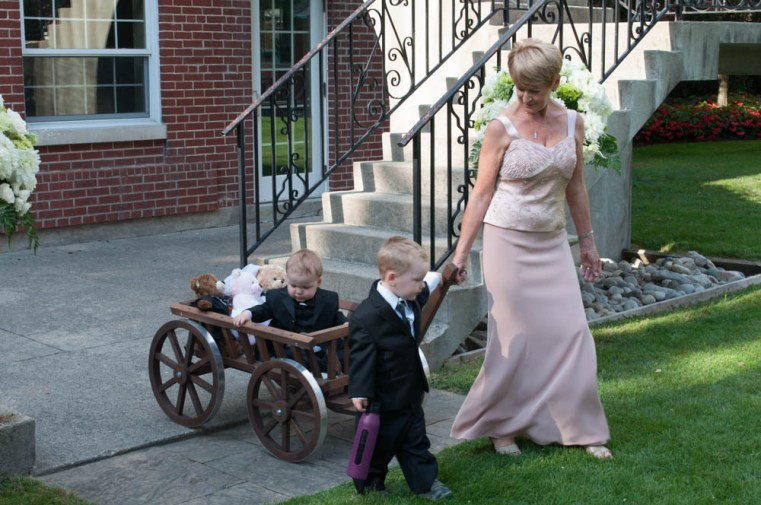 Bride's mother, and children of the happy couple